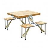 میز مسافرتی تاشو 4 نفره چوبی